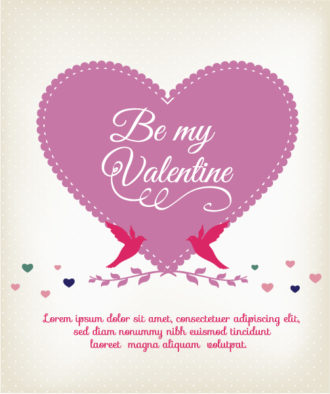 Happy  Valentine's Day Vector illustration with heart and birds Vector Illustrations vector