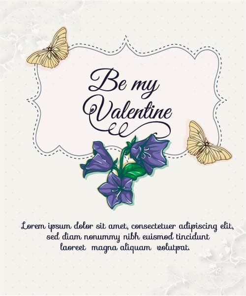 Happy  Valentine's Day Vector illustration with spring flowers and butterflies Vector Illustrations vector