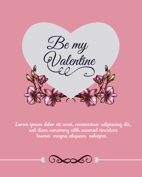 Happy  Valentine's Day Vector illustration with heart and flowers Vector Illustrations vector