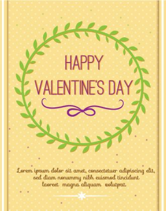 Happy  Valentine's Day Vector illustration with floral  frame Vector Illustrations floral
