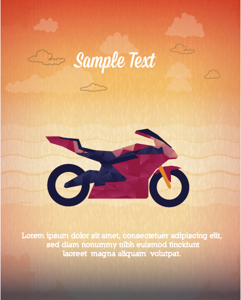 Illustration Eps Vector: Eps Vector Illustration With Abstract Background With Motorcycle 1