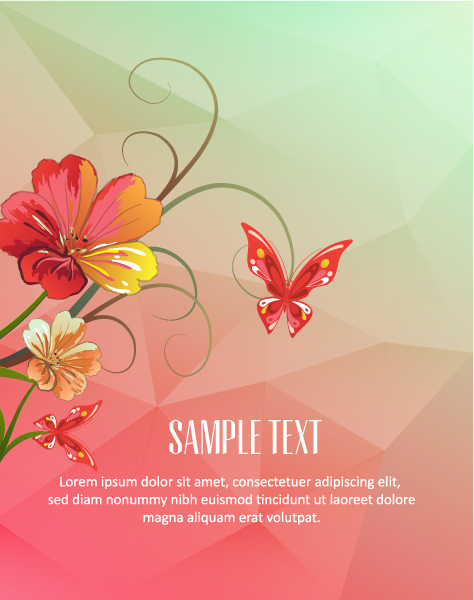 Vector Illustration with abstract background with butterflie and flowers Vector Illustrations vector