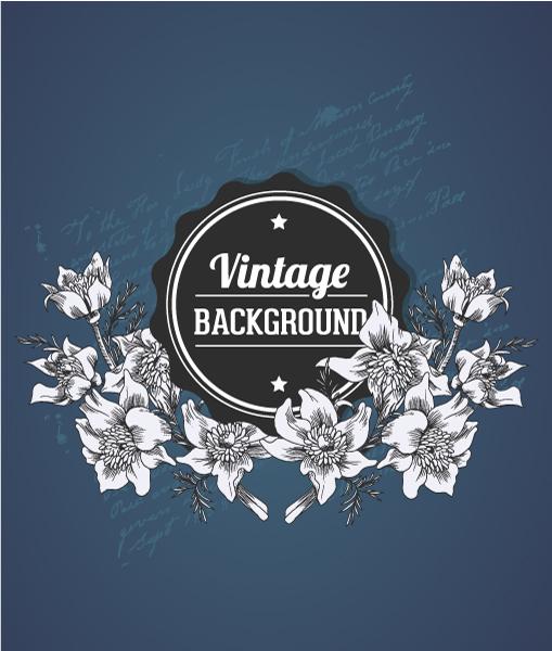 vintage vector illustration with spring flower and badge Vector Illustrations old