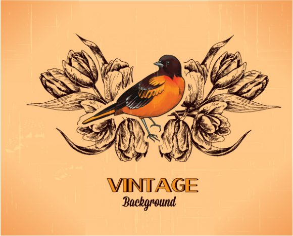 vintage vector illustration with spring flower and bird Vector Illustrations old