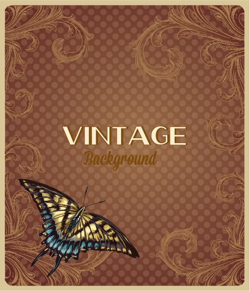 vintage vector illustration with spring flowers and butterfly Vector Illustrations old