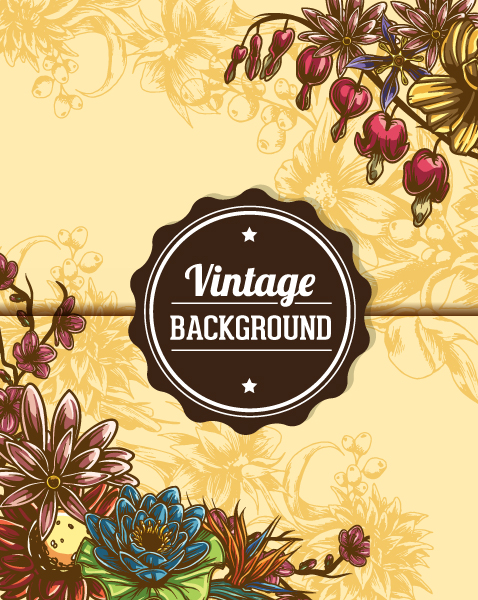 vintage vector illustration with floral elements Vector Illustrations [tag]