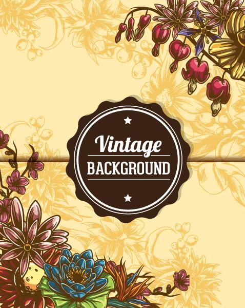 vintage vector illustration with floral elements 5