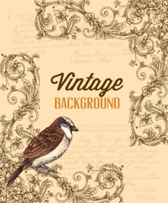 vintage vector illustration with floral elements and bird Vector Illustrations old