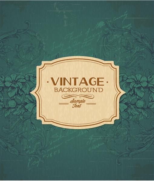 vintage vector illustration with floral elements and frame Vector Illustrations old