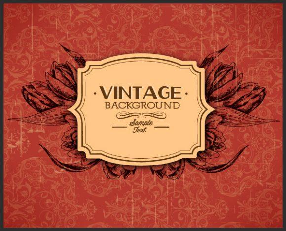 vintage vector illustration with spring vintage floral and frame Vector Illustrations old