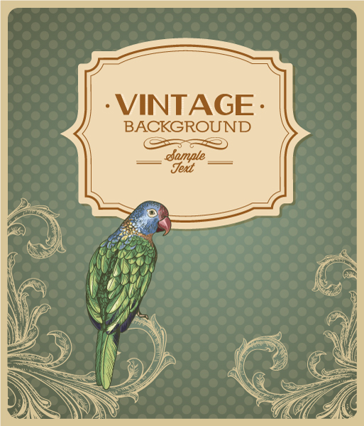 vintage vector illustration with floral elements 5