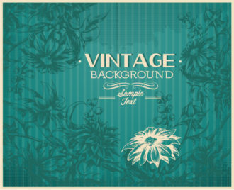 vintage vector illustration with floral elements Vector Illustrations old