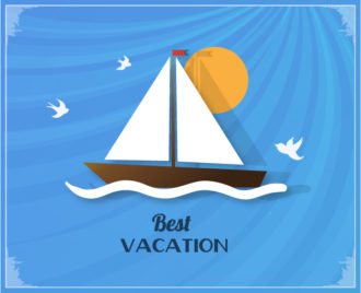 Summer Vector  Illustration with sailing ship Vector Illustrations palm