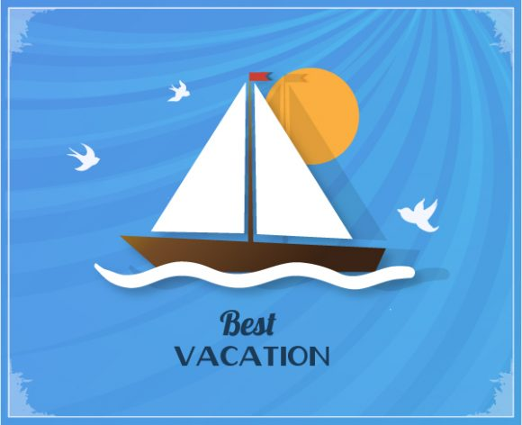 Summer Vector  Illustration with sailing ship 2015 05 05 505