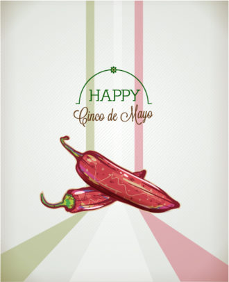 Cinco de mayo vector illustration with chilli Vector Illustrations floral
