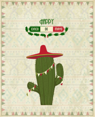 Cinco de mayo vector illustration with cactus plant and label Vector Illustrations floral