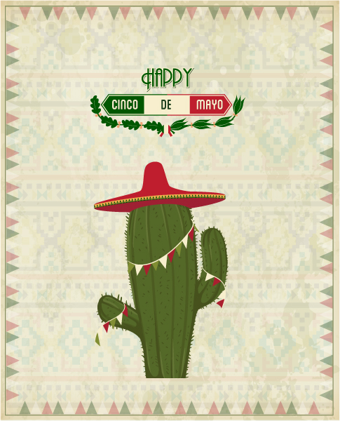 Gorgeous Cactus Vector Graphic: Cinco De Mayo Vector Graphic Illustration With Cactus Plant And Label 2015 05 05 510