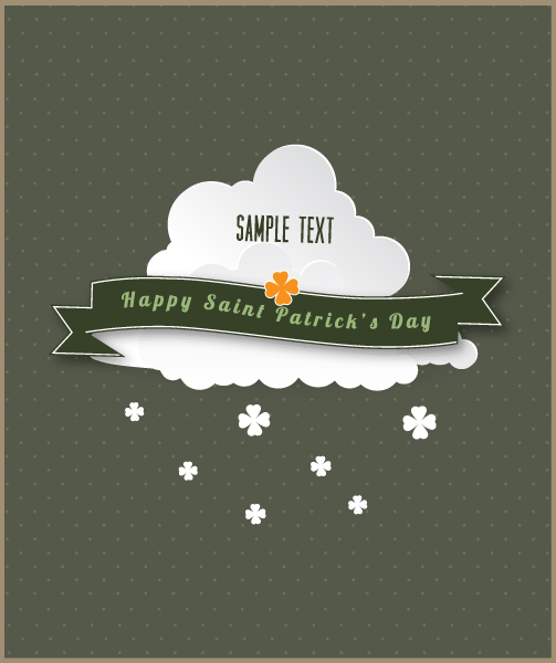 St. Patrick's day vector illustration with clouds and ribbon 2015 05 05 570
