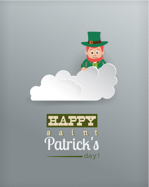 St. Patrick's day vector illustration with clouds and leprechaun Vector Illustrations vector