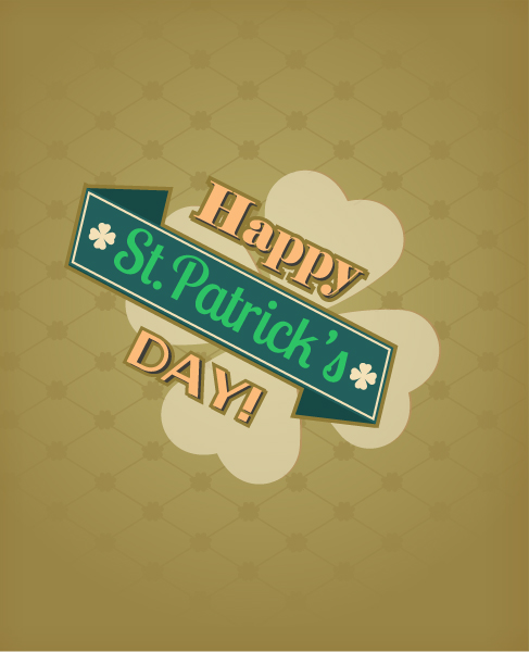 St. Patrick's day vector illustration with ribbon and clover 2015 05 05 575