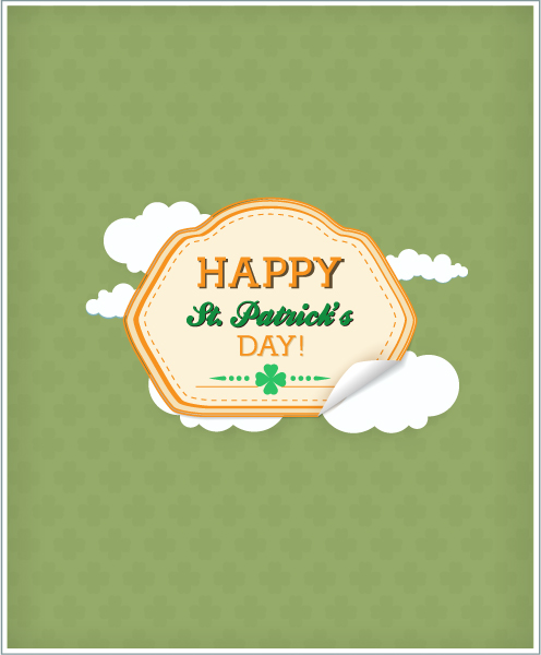 St. Patrick's day vector illustration with  sticker badge and clouds 2015 05 05 579