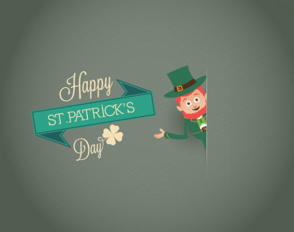 St. Patrick's day vector illustration with leprechaun and ribbon 2015 05 05 581