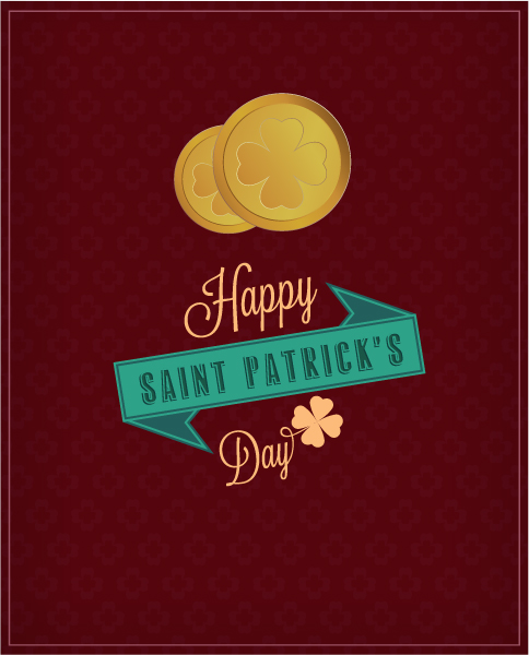 St. Patrick's day vector illustration with coins and ribbon Vector Illustrations vector