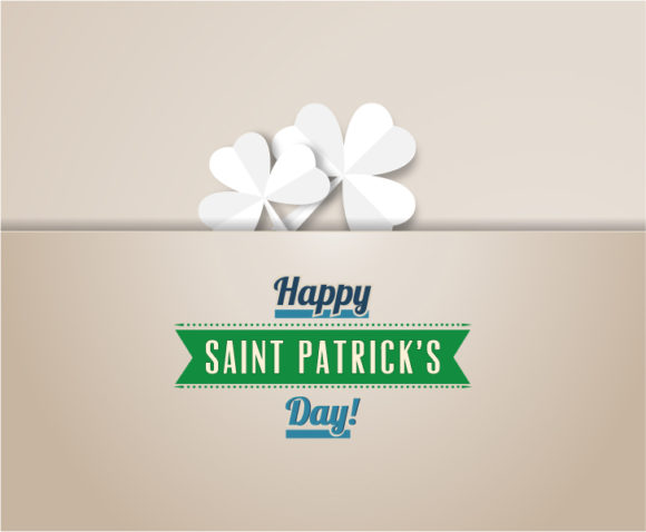 St. Patrick's day vector illustration with clover and ribbon 2015 05 05 593