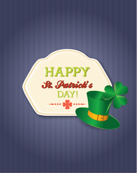 St. Patrick's day vector illustration with badge and green hat Vector Illustrations floral