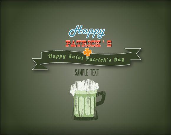 Saint Eps Vector St. Patricks Day Vector Illustration  Ribbon  Mug Of Beer 1