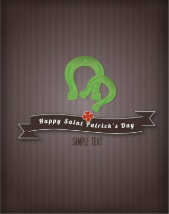 St. Patrick's day vector illustration with ribbon and horse shoes Vector Illustrations floral