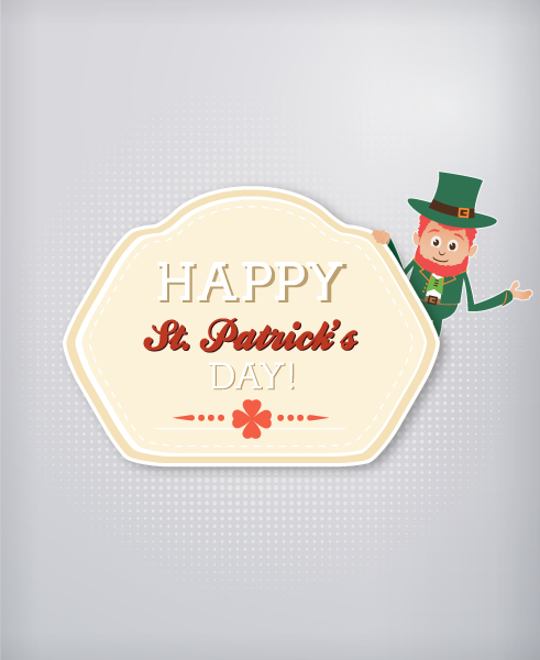 St. Patrick's day vector illustration with badge and leprechaun Vector Illustrations floral