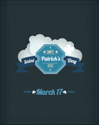 St. Patrick's day vector illustration with badge and clouds Vector Illustrations floral