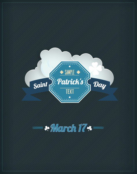 St. Patrick's day vector illustration with badge and clouds 2015 05 05 611