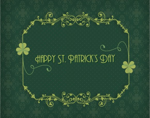 St. Patrick's day vector illustration with clover and floral frame 2015 05 05 620