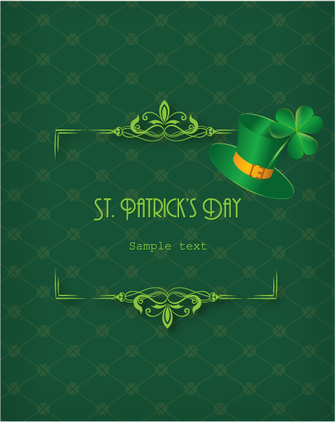 St. Patrick's day vector illustration with hat and floral frame Vector Illustrations floral