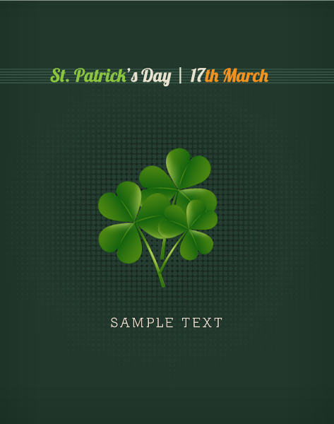 Trendy Clover Vector Image: St. Patricks Day Vector Image Illustration With Clover 1