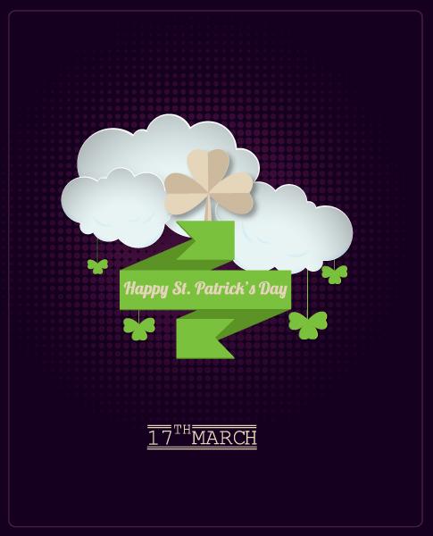 """""""patricks"""" Vector Artwork St. Patricks Day Vector Illustration  Sticker Clover 1"""