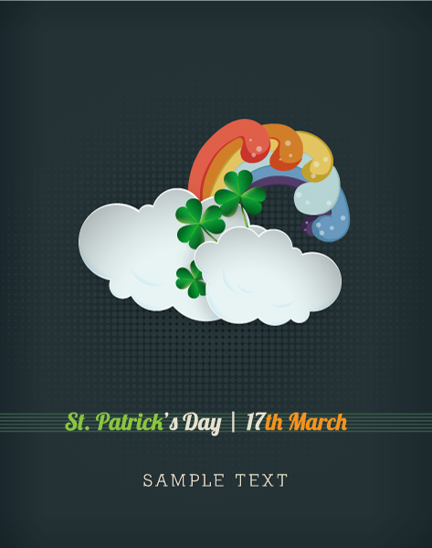 St. Patrick's day vector illustration with clouds and rainbow 2015 05 05 633