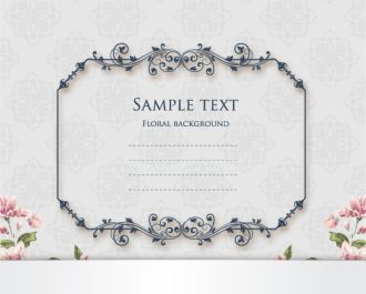 floral vector illustration with floral frame and spring flowers Vector Illustrations old