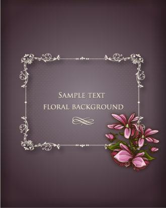 floral frame vector illustration with floral frame Vector Illustrations old