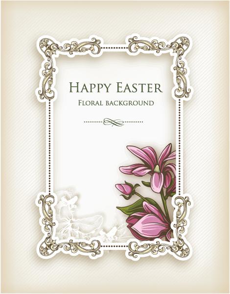Easter Eps Vector Easter Vector Illustration  Floral Frame 1