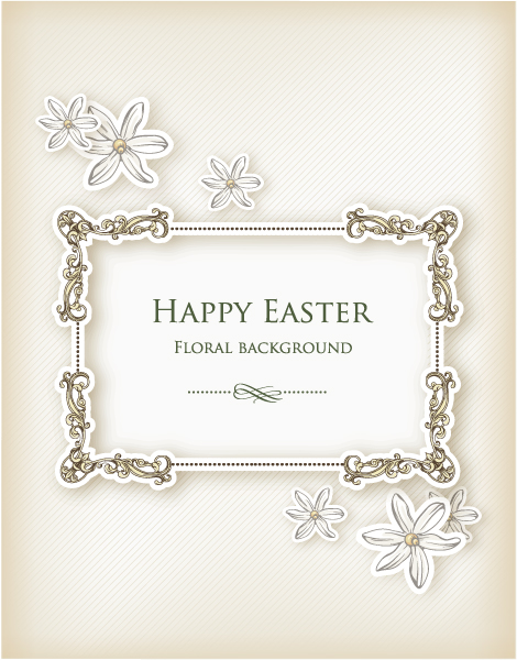 Download Illustration Vector Art: Easter Vector Art Illustration With Floral Frame 1