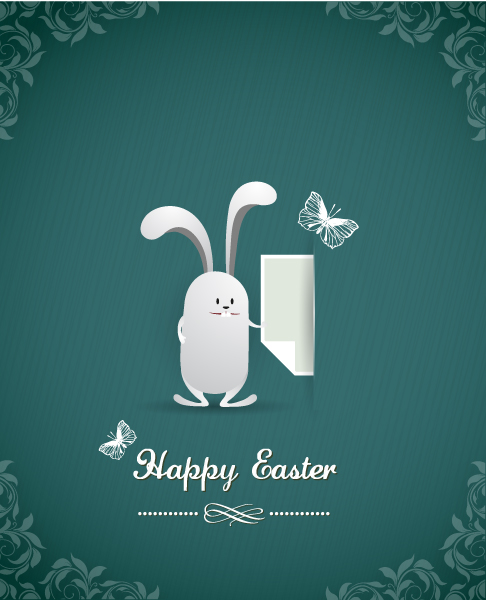 easter vector illustration with easter bunny Vector Illustrations vector