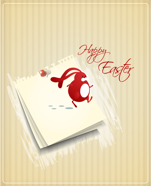 easter vector illustration with paper and easter bunny Vector Illustrations vector