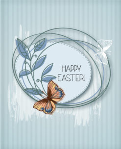 easter vector illustration easter frame and butterfly Vector Illustrations floral