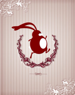 easter vector illustration easter bunny and laurel Vector Illustrations floral