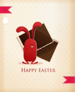 easter vector illustration easter bunny and photo frame Vector Illustrations floral