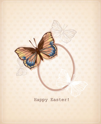 easter vector illustration with easter egg  and butterfly Vector Illustrations floral