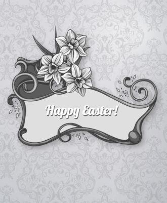 easter vector illustration with easter frame Vector Illustrations floral